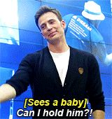 Chris Evans becomes more adorable and my obsession grows. Intervention needed? Chris Evans (gif)