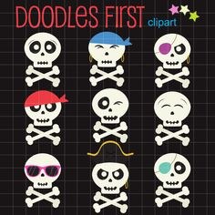 Pirate Skull Set Clip Art for Scrapbooking Card by DoodlesFirst