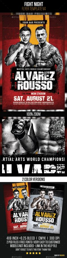 Boxing Fight Flyer Template  Boxing Fight Flyer Template And