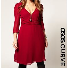 ASOS Curve Ruched Waist Dress Excellent condition! Minor loose threads. Really pretty ASOS Curve chiffon tea dress. Ruched empire waist with v-neck. The body of the dress is fully lined. The 3/4 sleeves are sheer. Ruched detail at top of sleeves. Zips up one side. Color is a dark red/maroon. Size 22, 3X. +All offers welcome ASOS Dresses Midi