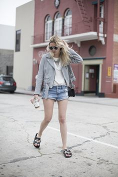 Gray moto jacket, cut offs and birkenstocks via Camille Over The Rainbow