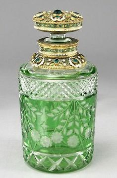 Bohemian Green Cut Glass Perfume Bottle With Gilt Filigree Stopper. Very beautiful, and I have a sneaking suspicion that it would make the perfume smell better too. Antique Perfume Bottles, Vintage Bottles, Bottles And Jars, Glass Bottles, Mason Jars, Cut Glass, Glass Art, Clear Glass, Etched Glass