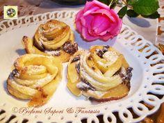 Rose di pasta sfoglia alle mele con cioccolato, golosissimi dolcetti belli veloci e facili da preparare. Bastano pochi ingredienti per gustare queste bontà.