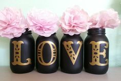 Chalkboard LOVE Mason Jars Black and Gold Mason Jar by Jones4Blush, $13.25