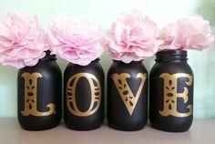 Chalkboard LOVE Mason Jars Black and Gold Mason Jar by Jones4Blush, $13.25