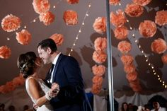 Peach wedding reception | Blair Gable Photography