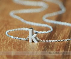 Lower Case Initial Necklace N039 / silver personalized monogram gift mom cute lowercase anniversary girlfriend boyfriend bridesmaid on Etsy, $15.80