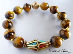 Earthy Tiger Eye Gemstone & Nepal Bead Bracelet