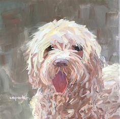 "Daily Paintworks - ""Cockapoo "" - Original Fine Art for Sale - © Christine Parker"