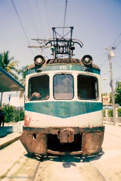 The Hershey Train - Havana Cuba - Fine Art Photography Print - 8x12 - Vintage Electric Train - Aqua Teal