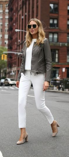 Grey taupe leather moto jacket, white lined ankle length cropped dress pants + suede block heel round toe pumps {vince camuto, classic style, workwear, office style, nordstrom anniversary sale 2017, under 100}