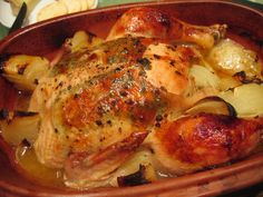 """Lemon Herb Chicken in Clay Pot  (NOTE:  VERY IMPORTANT:  RECIPE ASKS YOU TO 'PREHEAT OVEN""""!  PLEASE!!!!!!  DO NOT PREHEAT OVEN; IT COULD CRACK YOUR CLAY POT!  PLACE CLAY POT INTO COLD OVEN!!!"""