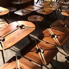 Very cool! Cantilevered tables from New Breed Furniture.