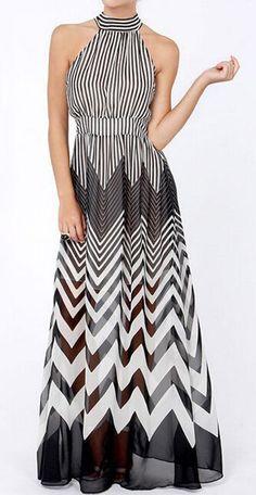 Stylish Stand-Up Collar Sleeveless Striped Women's Maxi Dress #Fashion #Dress #Maxi #Elegant #Style #Women