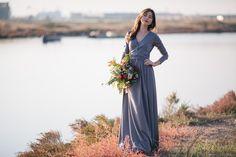 Maxi Dresses – Maxi Grey dress with wrap around top – a unique product by nelliuzun via en.DaWanda.com