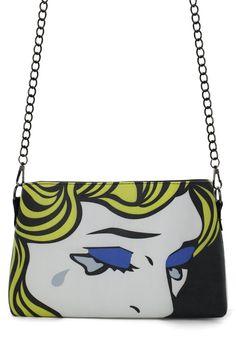 Crying Girl Print Clutch Bag