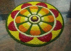 Rangoli Designs with Flowers for Onam Easy Rangoli Designs Diwali, Simple Rangoli Designs Images, Rangoli Designs Flower, Rangoli Ideas, Colorful Rangoli Designs, Kolam Rangoli, Flower Rangoli, Beautiful Rangoli Designs, Flower Designs
