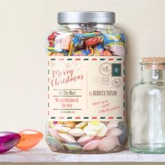 Christmas Postcard Personalised Retro Sweet Shop Jar