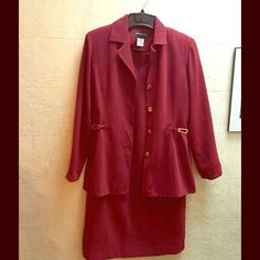 Two piece burgundy suit ❤ Nwt two piece dress with blazer, blazer has gold buttons. Very stylish and fits great. 55%rayon 45%acetate. Made in the USA. John Roberts Dresses