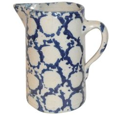 Early 19th Century Geometric Sponge Ware Pottery Pitcher | From a unique collection of antique and modern ceramics at http://www.1stdibs.com/furniture/folk-art/ceramics/