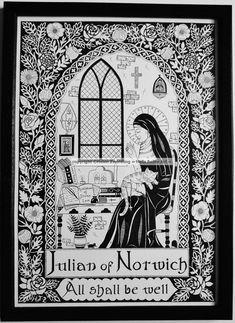 Julian of Norwich ~ Patron Saint of Cats & Contemplatives. A high quality, framed A4 print of an original artwork by ©Helen Zwerdling