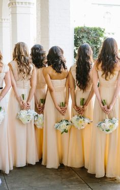 custom made peach bridesmaid dresses | Photography by kaylaadams.net | Floral Design by maranathaflowers.com |   Read more - http://www.stylemepretty.com/2013/08/01/riverside-wedding-from-kayla-adams/