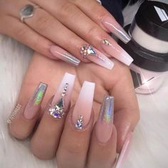 Want to know how to do gel nails at home? Learn the fundamentals with our DIY tutorial that will guide you step by step to professional salon quality nails. Aycrlic Nails, Glam Nails, Dope Nails, Bling Nails, Hair And Nails, Coffin Nails, Jewel Nails, Cardi B Nails, Bling Nail Art
