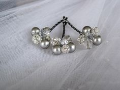 Silver Swarovski Pearl and Crystal Hair Pins, set of 3. $18.00, via Etsy.
