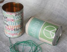 Can Phone Tin Can Phone Telephone Cans by StellasTreehouse