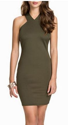 Love Love Love this Dress Color + Design ! Army Green  Alluring V-Neck Sleeveless Back Criss-Cross Solid Color Dress #Sexy #Khaki #Army_Green #BodyCon #Fall #Dress #Fashion