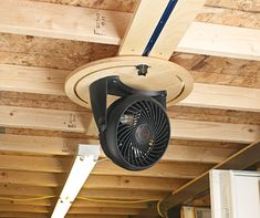 Overhead Fan Mount: Cool your shop with this easy to make and very flexible ceiling fan. Overhead Fan Mount Source by stvhinton The post Overhead Fan Mount appeared first on Bean Woodworking. Garage Workshop Organization, Basement Workshop, Garage Tool Storage, Workshop Storage, Garage Tools, Garage Shop, Home Workshop, Wood Shop Organization, Workshop Layout