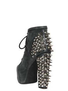 JEFFREY CAMPBELL - 120MM LITA LEATHER SPIKED BOOTS - LUISAVIAROMA - LUXURY SHOPPING WORLDWIDE SHIPPING - FLORENCE