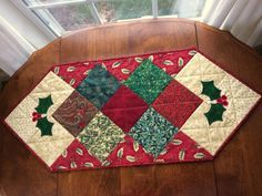 Quilted Holly Christmas Table Runner Holiday Table by seaquilt Table Runner And Placemats, Table Runner Pattern, Quilted Table Runners, Christmas Runner, Holly Christmas, Xmas, Christmas Patchwork, Quilted Table Toppers, Winter Quilts