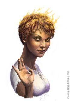 Female Fire Genasi, Portrait, Barbarian, Bard, Cleric, Druid, Fighter, Monk, Paladin, Ranger, Rogue, Sorcerer, Warlock, Wizard