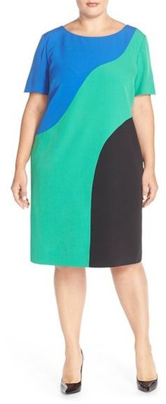b1cdaf14c17 Tahari Colorblock Crepe Shift Dress (Plus Size)