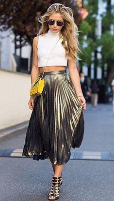 Shirt fashion girl girly summer dress summer summer top summer outfits sunglasses metallic pleated skirt date Metallic Skirt Outfit, Pleated Skirt Outfit, Metallic Pleated Skirt, Skirt Outfits, Midi Skirts, Gold Outfit, Style Outfits, Summer Outfits, Fashion Outfits