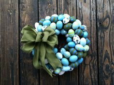 Easter Wreath, Colorful Egg Wreath by DyJoDesigns on Etsy https://www.etsy.com/listing/185370987/easter-wreath-colorful-egg-wreath