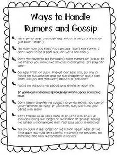 Baby Names Discover Bullying and Social Skills: Rumors & Gossip Booklet Bullying and Social Skills: Rumors & Gossip Booklet. Social Skills Lessons, Social Skills Activities, Teaching Social Skills, Counseling Activities, Social Emotional Learning, Coping Skills, Life Skills, Anti Bullying Activities, Communication Activities