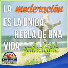 """""""La moderación es la única regla de una vida saludable"""" #FraseDelDía #Motivación #vida #saludable"""