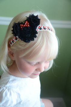 Minnie Mouse, Disney Inspired Shabby Chic Headband - Cute As a Button Little Boutique on Etsy, $7.50