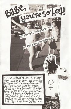 A body positive page from a zine grrltrouble made in her Violence Against Women's class.