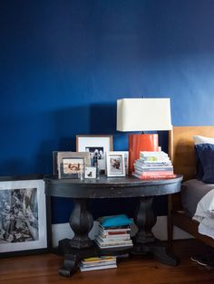 Colorful bedroom wall with blue paint
