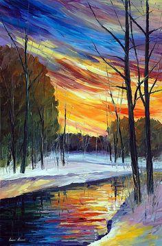 Leonid Afremov - WINTER SUNRISE — PALETTE KNIFE Oil Painting On Canvas By Leonid Afremov #OilPaintingKnife #OilPaintingFlowers