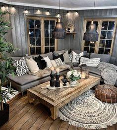 Boho Living Room, Cozy Living Rooms, Apartment Living, Home And Living, Modern Living, Rustic Living Room Decor, Rustic Livingroom Ideas, Living Area, Luxury Living
