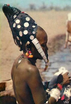 Africa | Fulani woman with an elaborate hairstyle. Niger || Scanned postcard