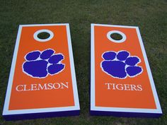 Clemson Tigers cornhole boards set. All paint, no vinyl decals, no stickers, bag toss, custom, tailgating.