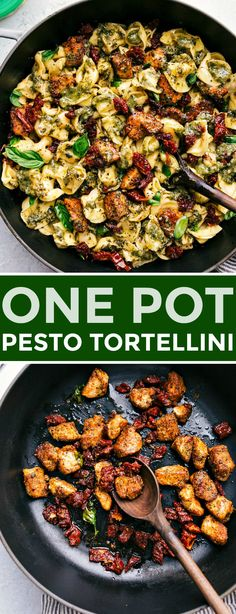 A ONE pot, easy and quick, pesto chicken tortellini with sun-dried tomatoes and fresh basil onepot one pot pesto chicken tortellini easy quick dinner fast basil sundried tomatoes recipe 82894449379351731 Pesto Tortellini, Basil Pesto Pasta, Basil Pesto Recipes, Chicken Tortellini, Chicken Pesto Pasta, Sundried Tomato Pesto Pasta, Recipes With Basil, Sundried Tomato Recipes, Pesto Dishes