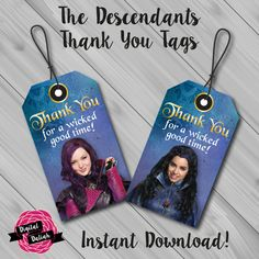The Descendants Thank You/Favor Tags  This listing includes a DIGITAL file for Disney Descendants luggage style Thank You/Favour tags featuring