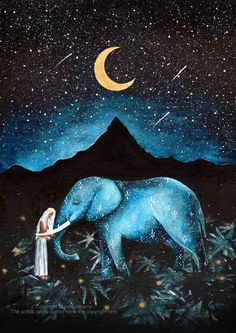 Painting & Drawing, Watercolor Paintings, Original Paintings, Original Art, Elephant Artwork, Elephant Love, Elephant Spirit Animal, Moon Art, Illustrations