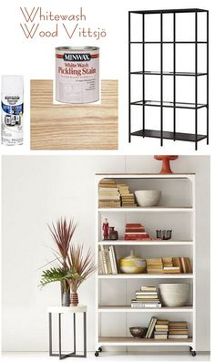 whitewash wood vittsjo to look like west elm shelving unit- via Censational Girl ikea unit Ikea Hacks, New Living Room, Home And Living, Vittsjo Hack, Furniture Makeover, Diy Furniture, Whitewash Wood, Creation Deco, Home Decor Inspiration